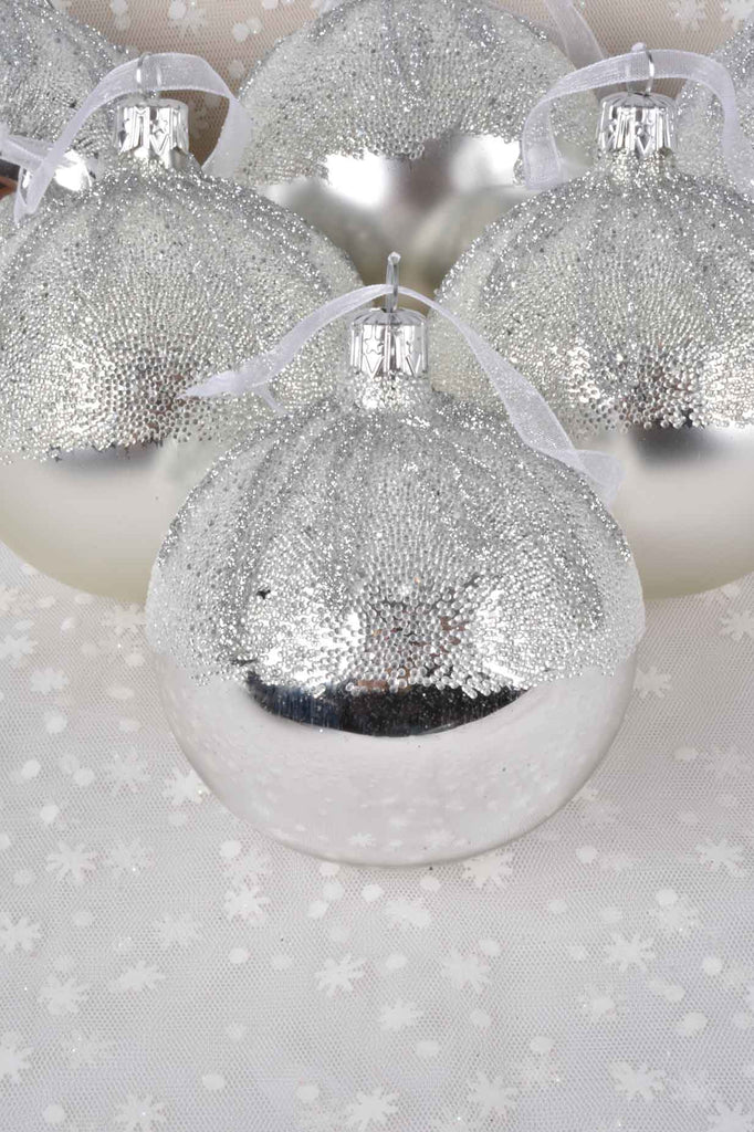 Silver Sugared Top European Glass Ornaments