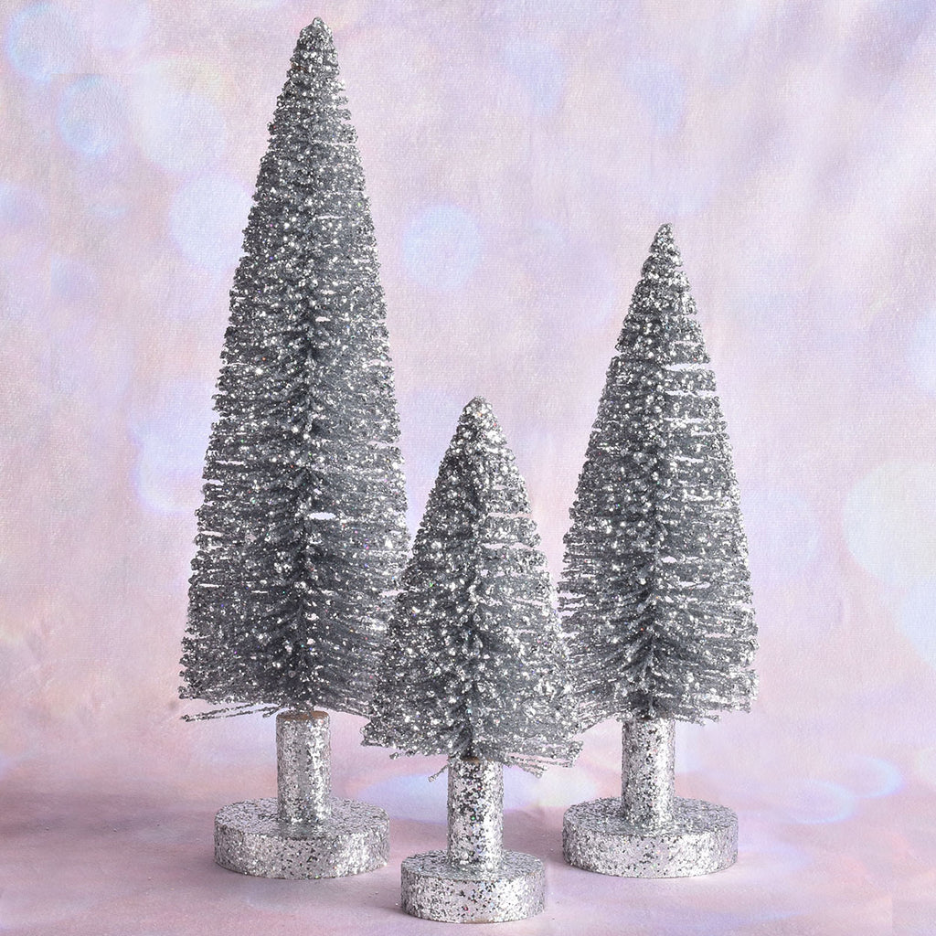 Set of 3 Silver Glitter Trees