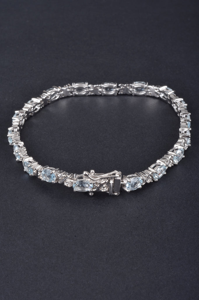 Aquamarine and White Zircon Line Bracelet