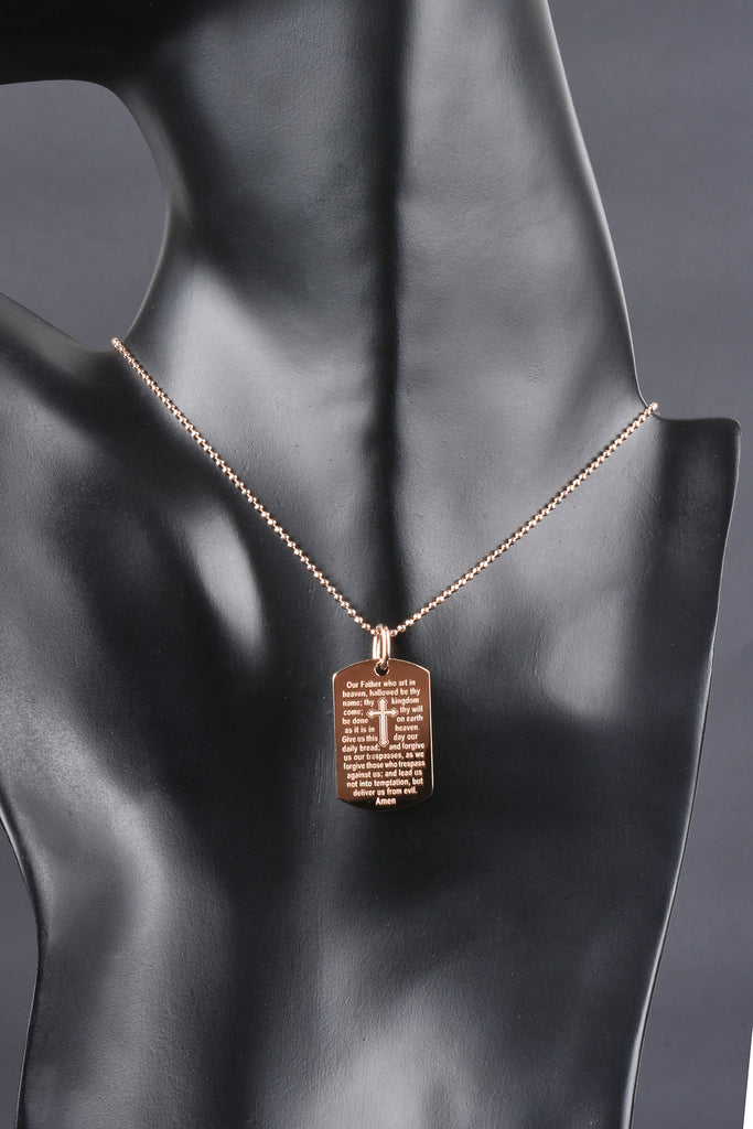 Italian Lord's Prayer Tag Necklace