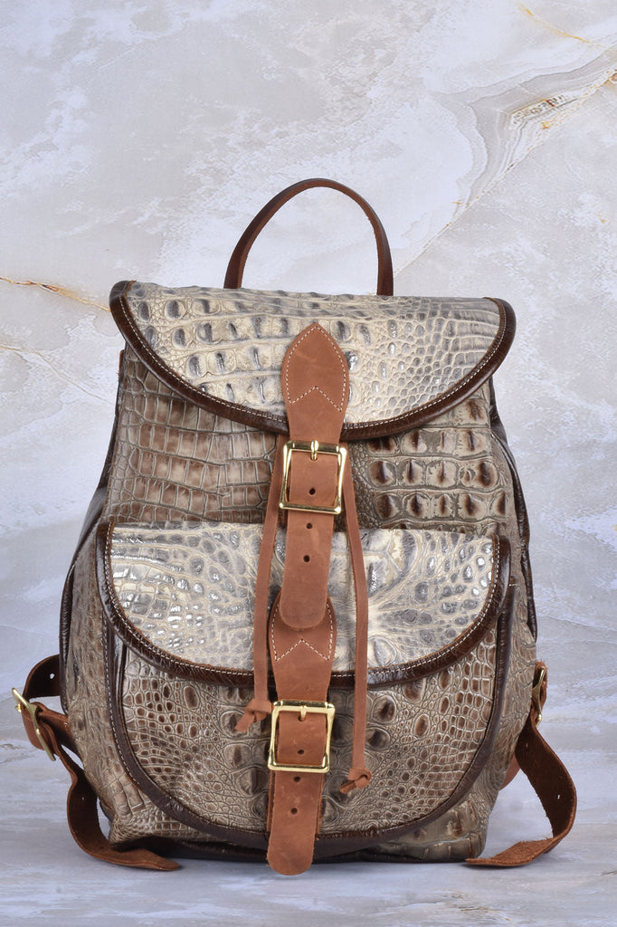 Croco Embossed Leather Backpack