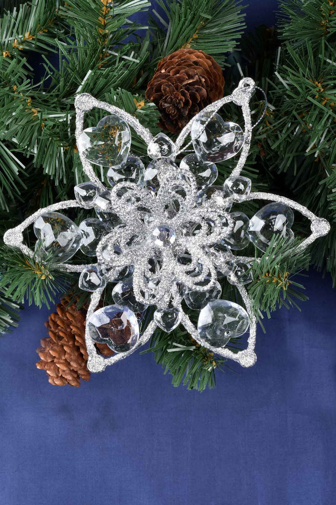 Transparent and Silver Flower Ornaments
