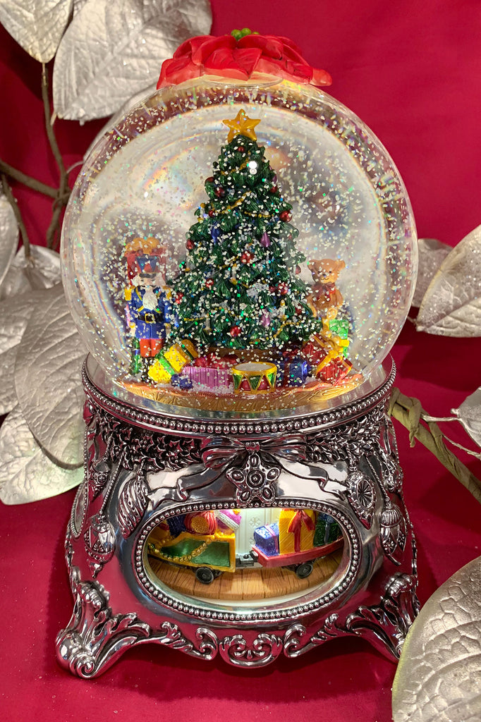 Grand Christmas Tree Snow Globe with Ornate Base