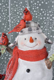 Large Snowman with Cardinals