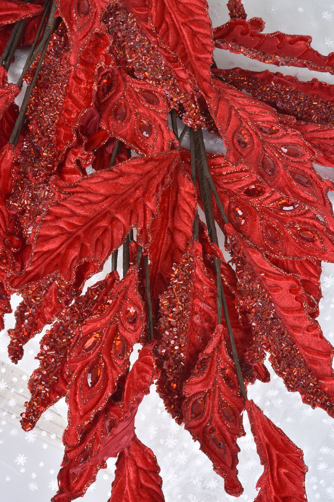 Red Jeweled Leaf Branch Sprays