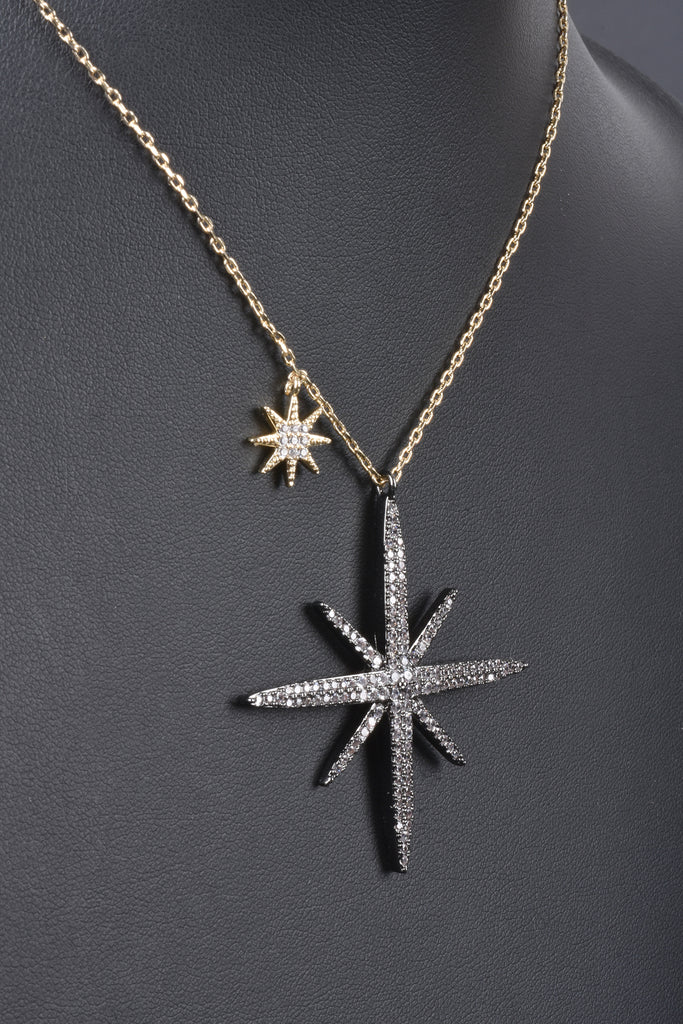 Couture Inspired Handmade Pave North Star Necklace