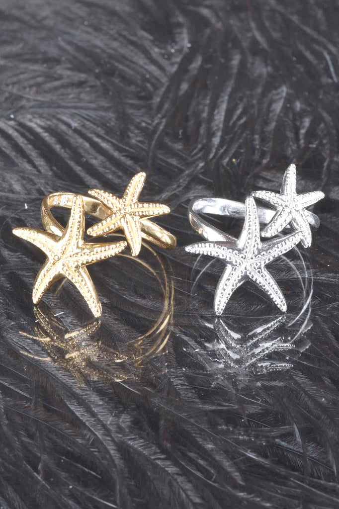 Textured Double Starfish Ring