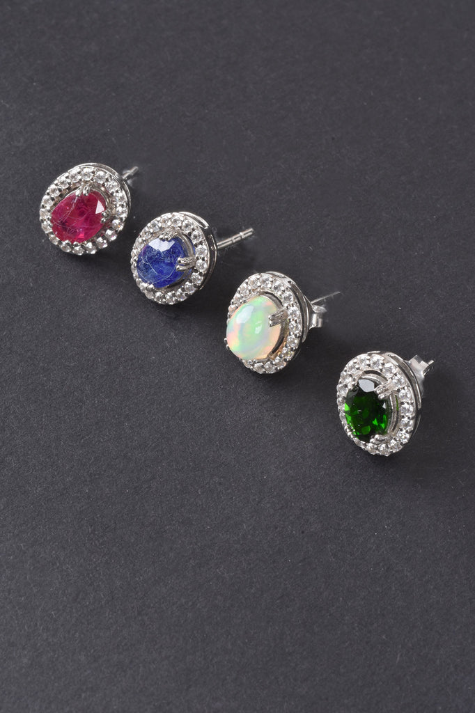 Colors of Gems Oval Stud Earrings