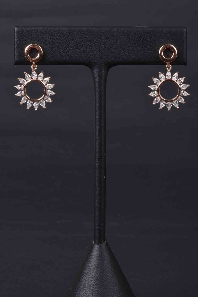 Sparkling Sun Motif Drop Earrings
