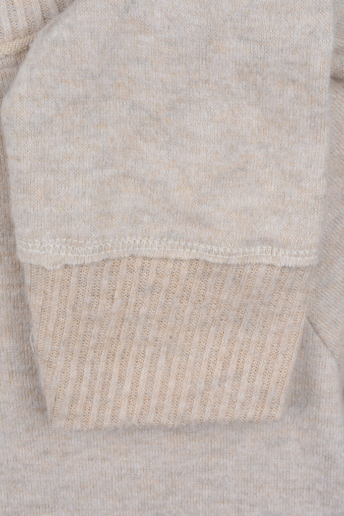 Brushed Knit Sweater with Lace Trim
