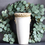 Antiqued Tall Cream Ceramic Vase