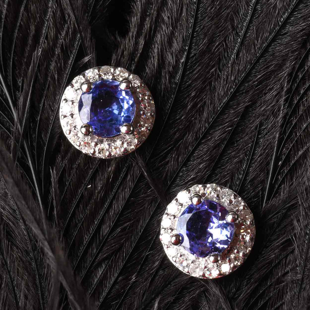 White Diamond and Tanzanite Earrings