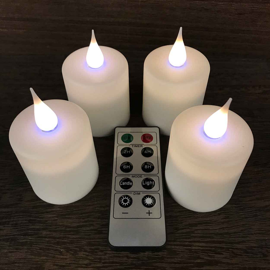 Set of 4 Rechargeable Tea Lights with 3D Flame