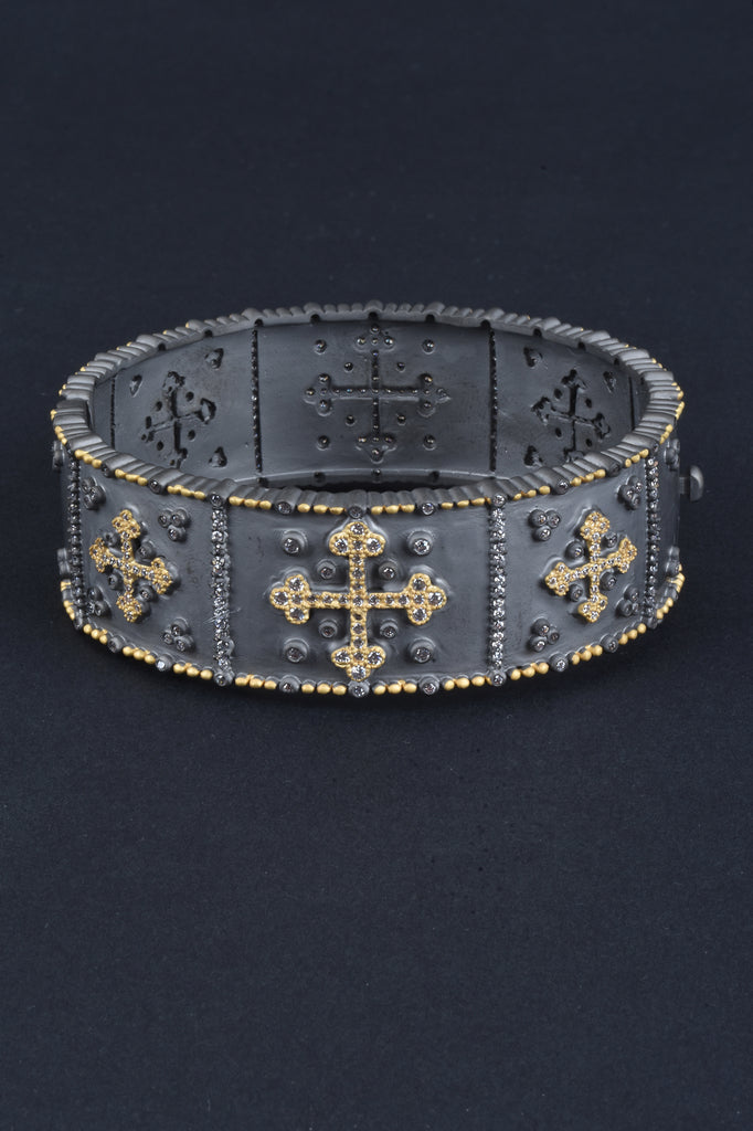 Handmade Couture Inspired Pave Cross Bangle Bracelet