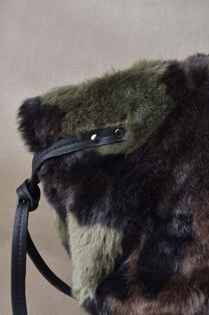 Camouflage Faux Fur Bag