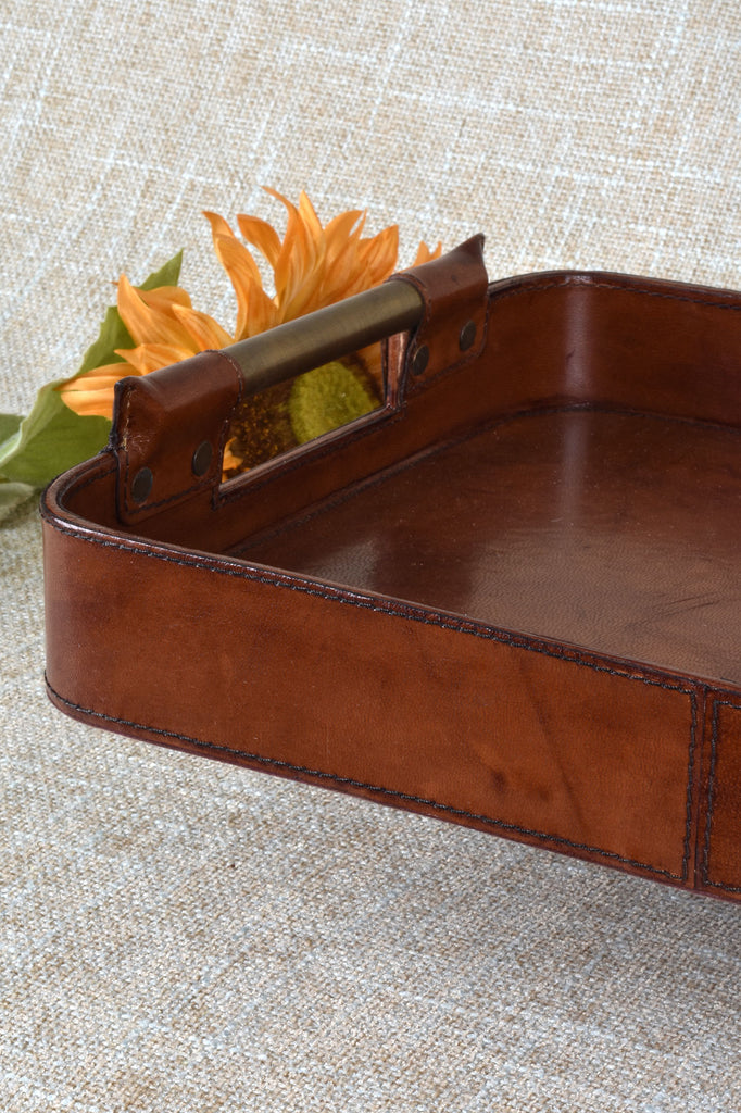 Leather Tray with Brass Handles