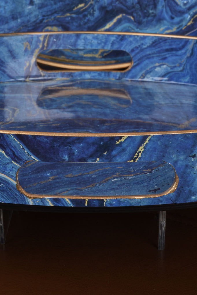 Set of 2 Marbled Blue Trays