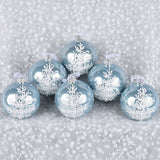 Set of 6 Sparkling Trees European Glass Ornaments