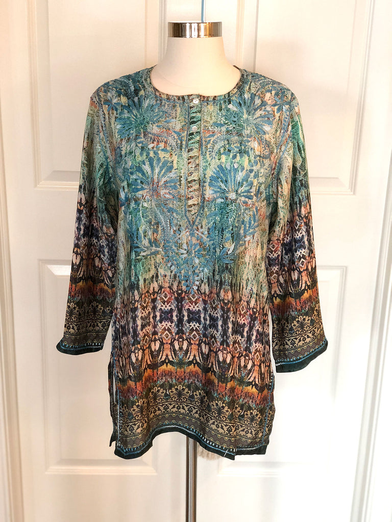 Resort Silk Blend Tunic With Hand Embroidery