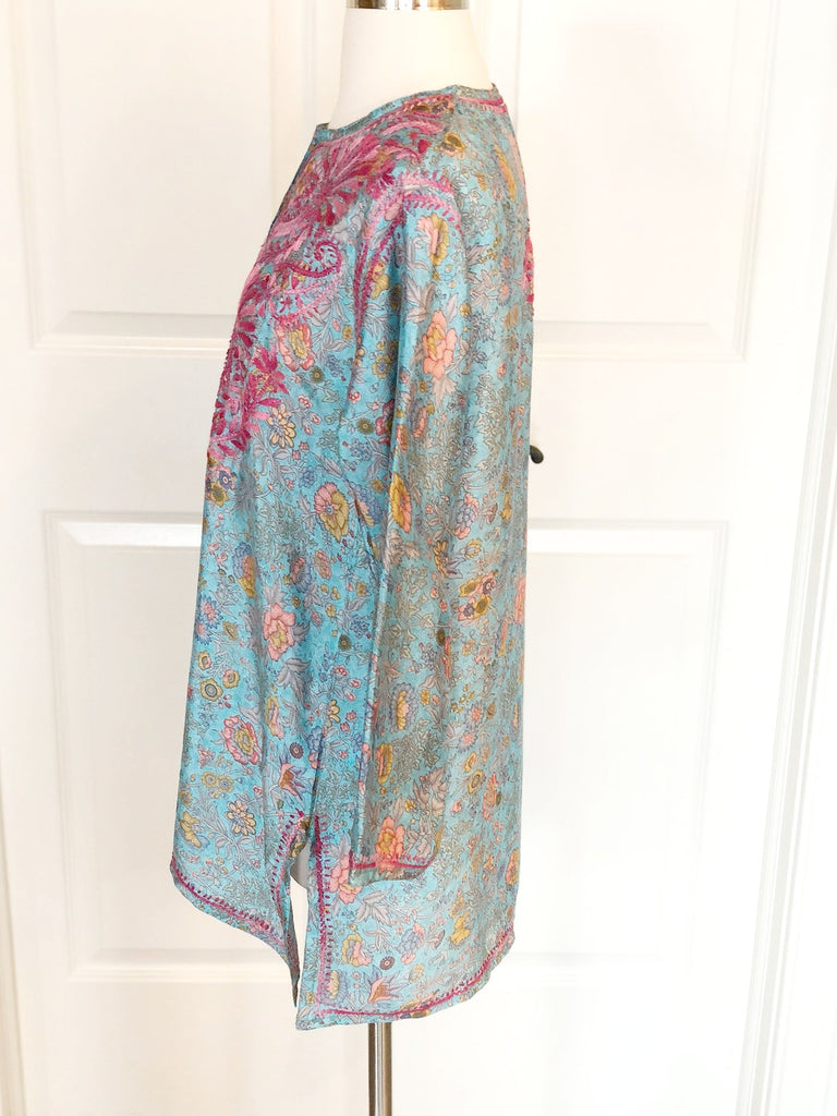 Turquoise Silk Blend Tunic With Hand Embroidery
