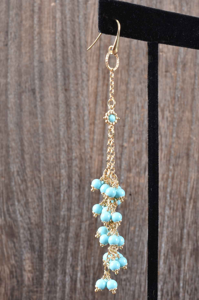Florentine Turquoise Tassel Dangle Earrings