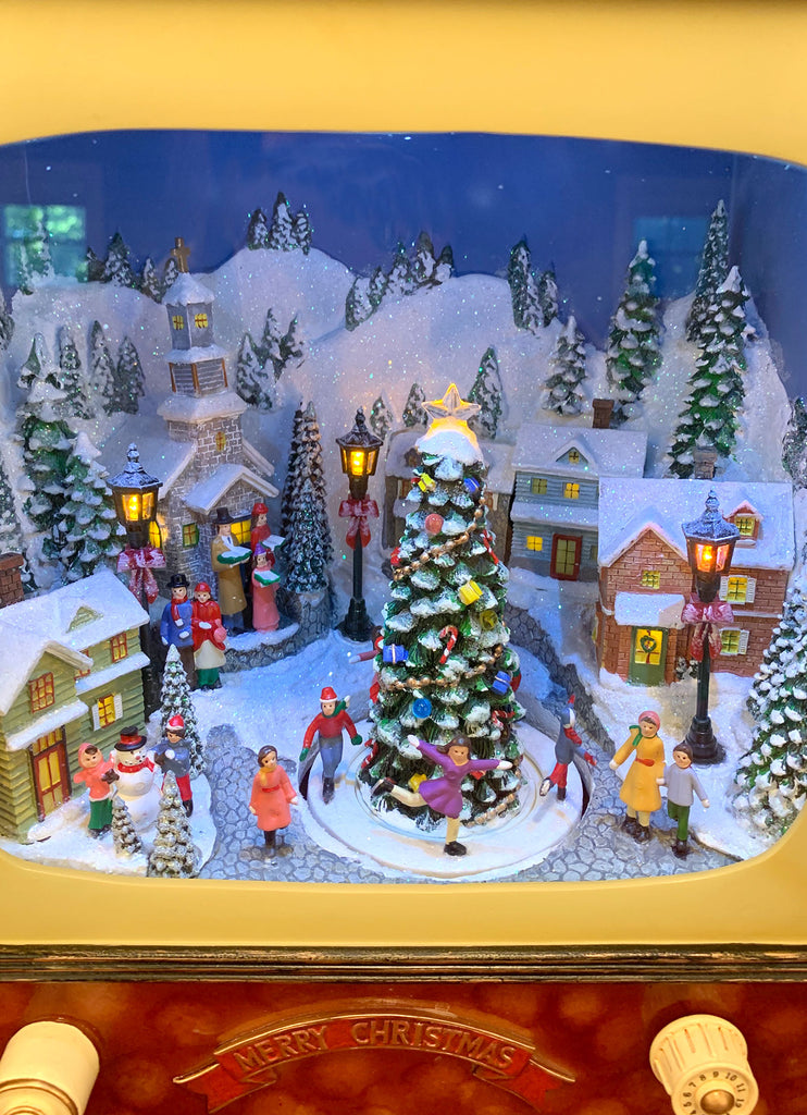 Christmas Village.Snowy Christmas Village Lighted Animated Vintage Tv Musicbox