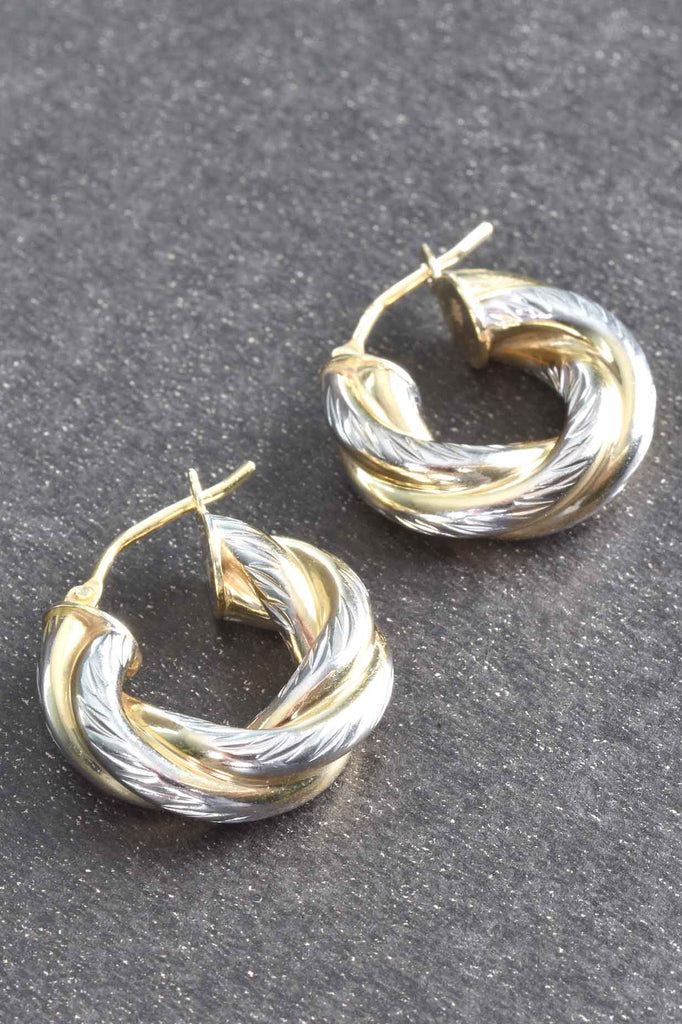 Italian Two-Tone Twisted Round Hoop Earrings