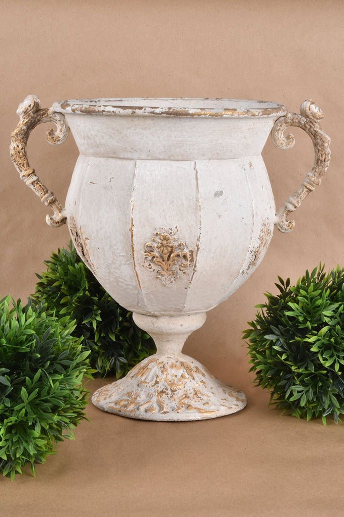 Antiqued Urn with Gold Detail
