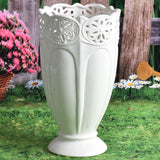 Tall White Ceramic Vase with Lace Cutout Detail