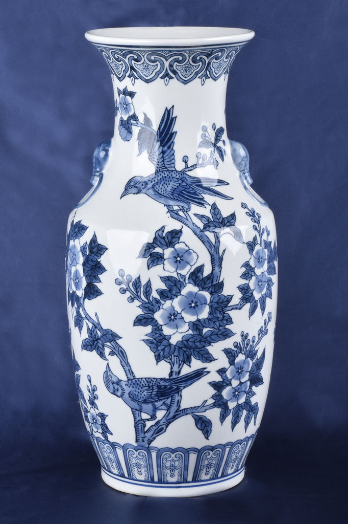 Grand Blue and White Chinoiserie Round Vase