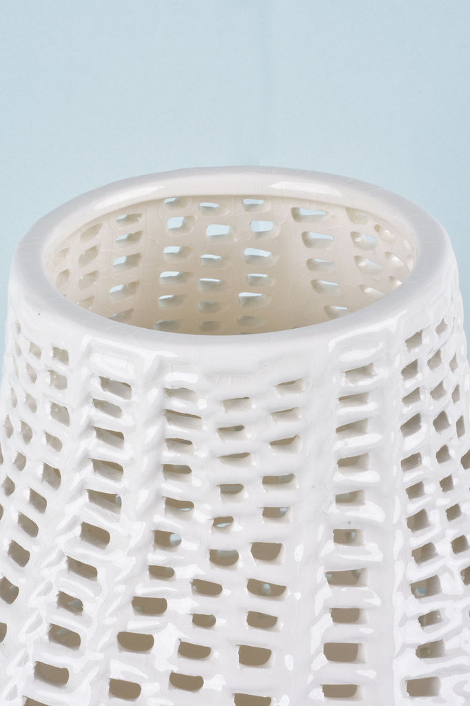 13'' White Ceramic Basket Weave Vase