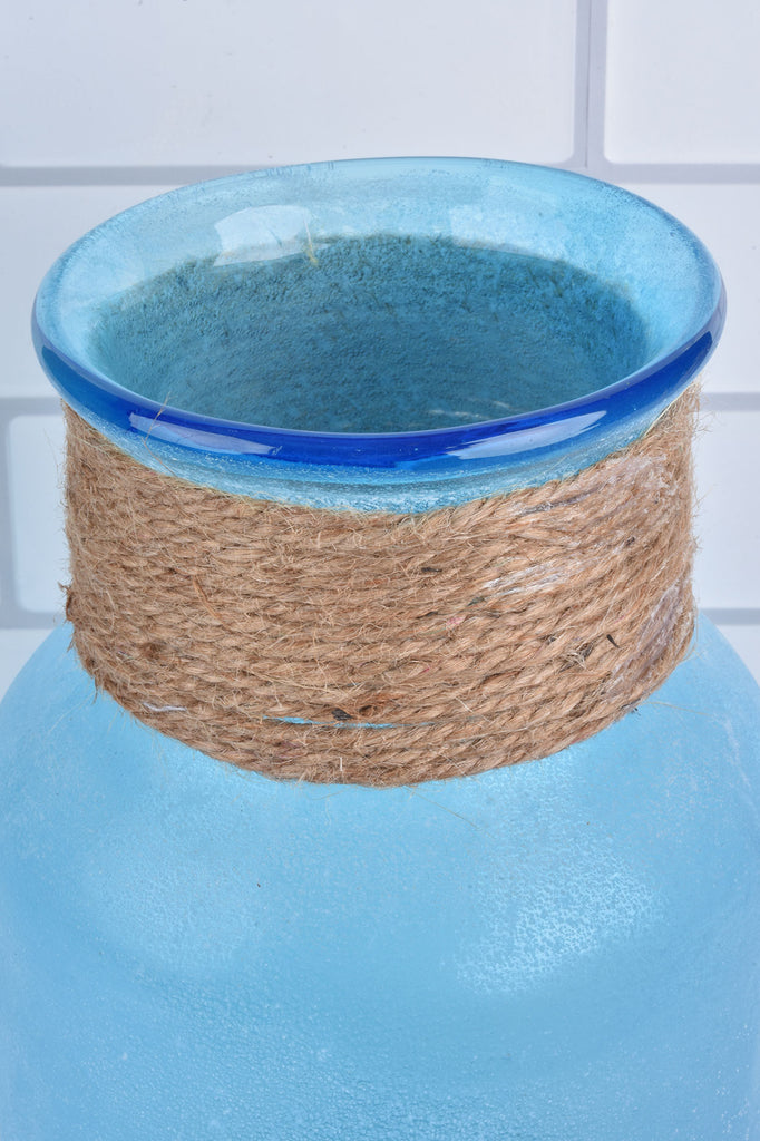Blue Glass Vase with Twine