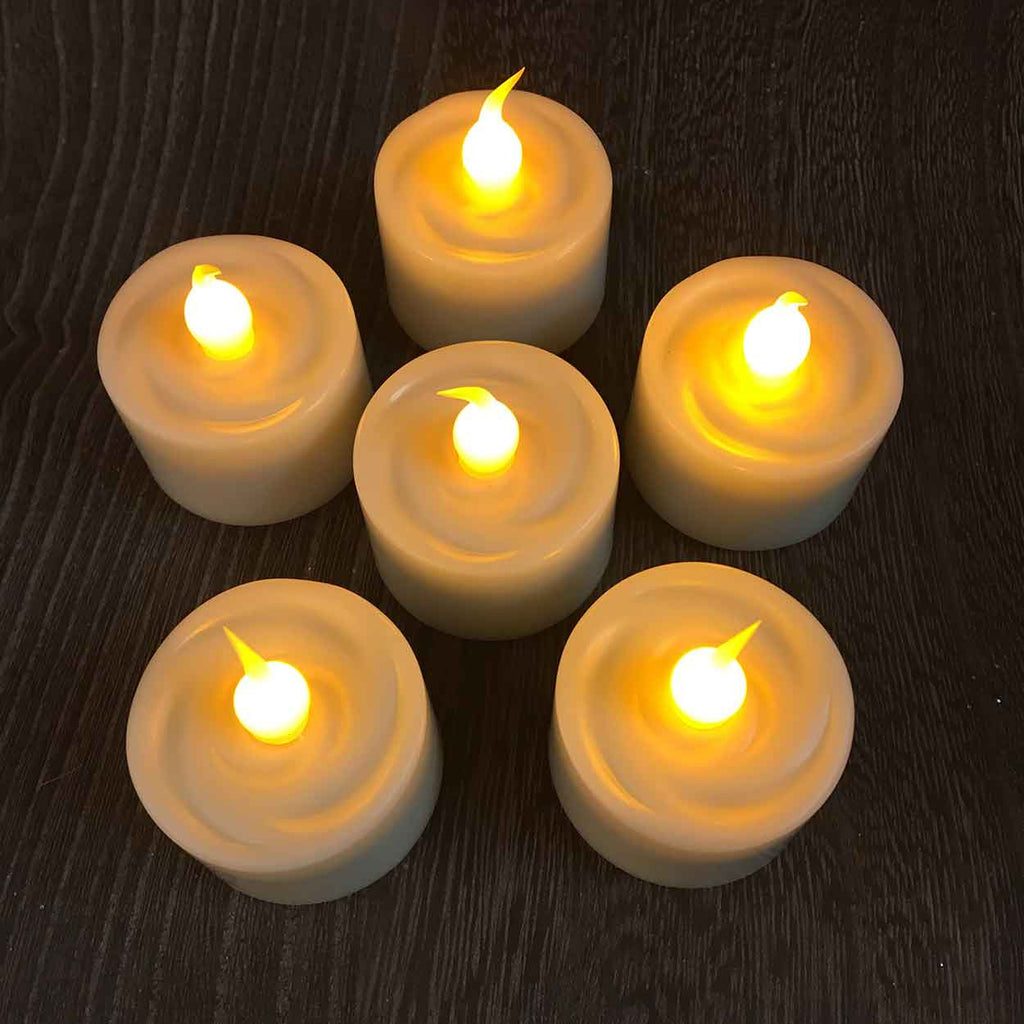 Set of 6 Flameless Tea Light Candles with Timers