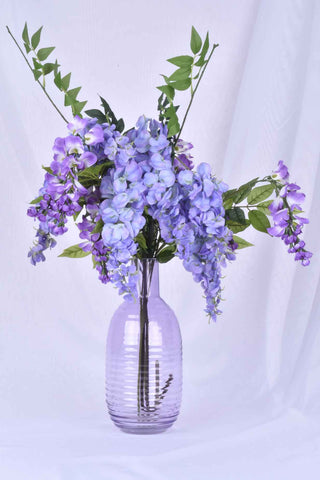 Soft Purple Embossed Glass Vase