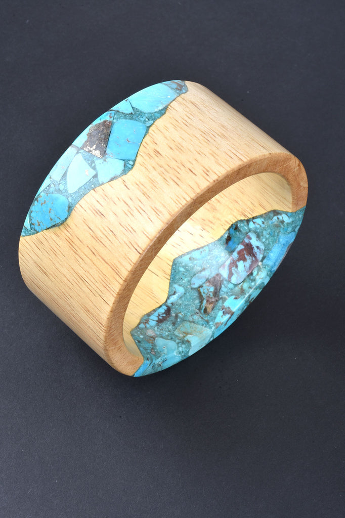 Couture Inspired Turquoise and Wood Bangle
