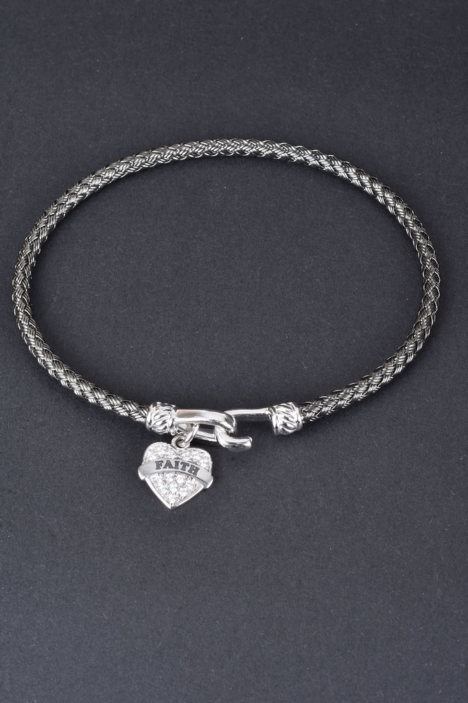 Italian Woven Heart Message Bangle