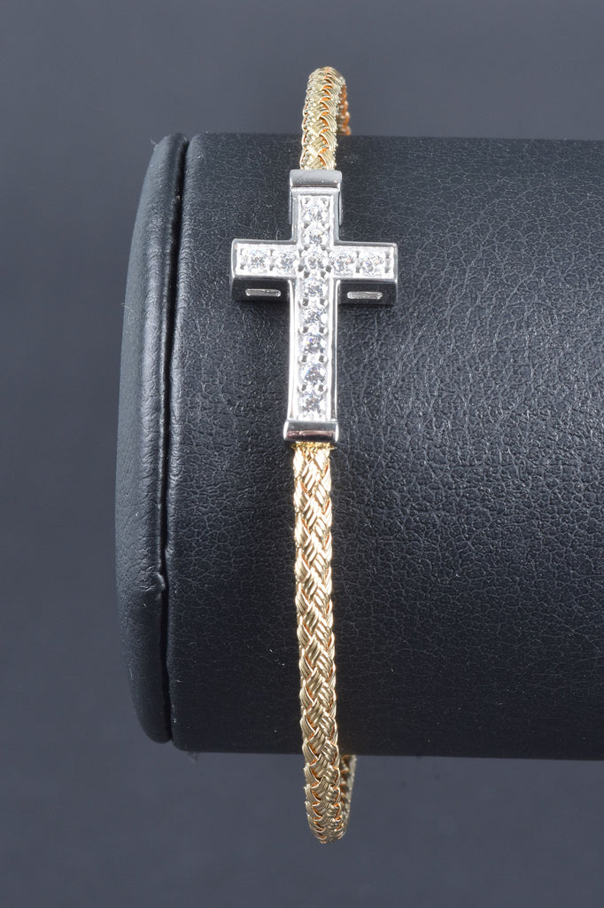 Italian Woven Cross Center Cuff Bracelet