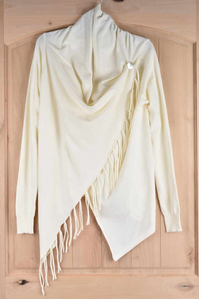 Long Sleeve Wrap with Button and Fringe Detail