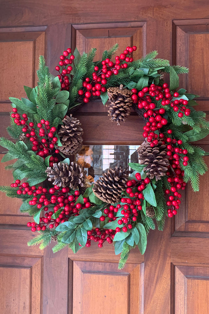 Berry and Holly Leaf Wreath with Pinecones