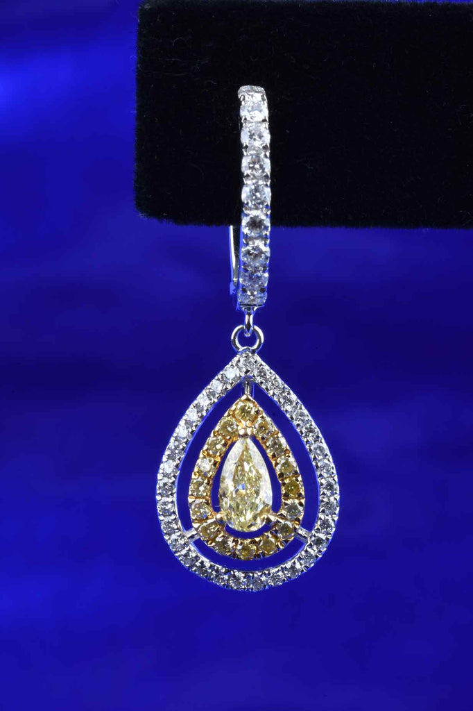 18K Gold Canary and White Diamond Teardrop Earrings