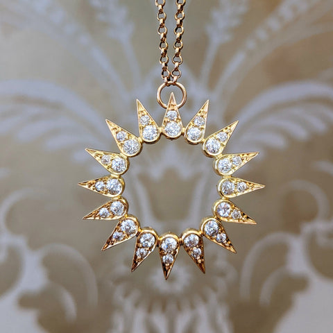 14k Victorian Diamond Sun Necklace