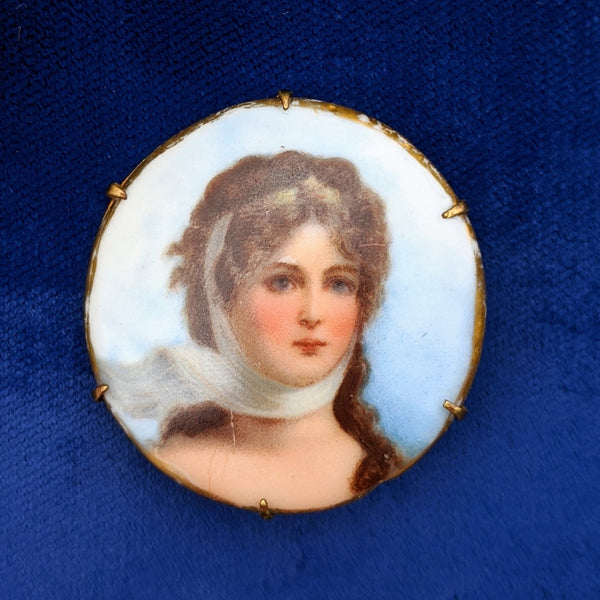 Rare Victorian Painted Portrait Brooch