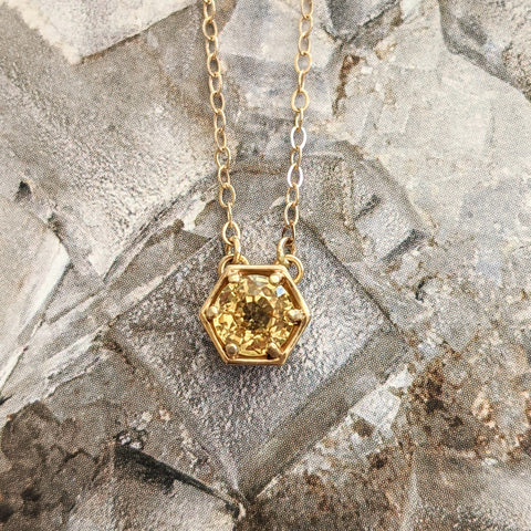 14k Yellow Sapphire Hexagon Necklace