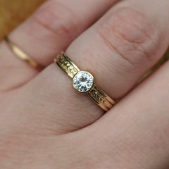 Bordered Wheat Diamond Solitaire Engagement Ring