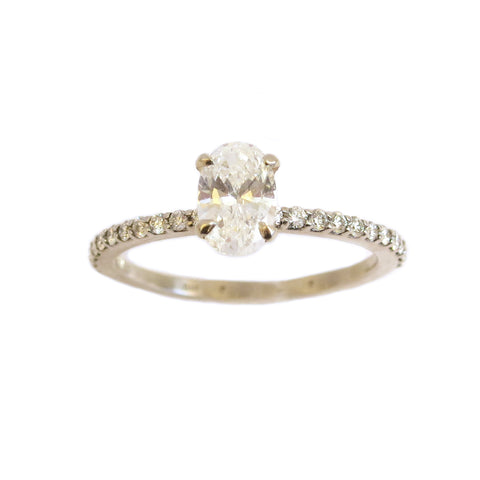 Oval Diamond Engagement Ring on Diamond Band