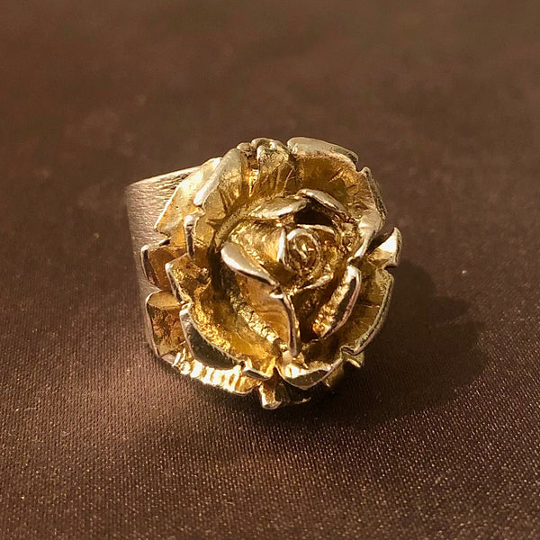 Silver Blossoming Rose Ring