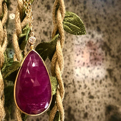 Pear Shaped Ruby with Diamond Necklace