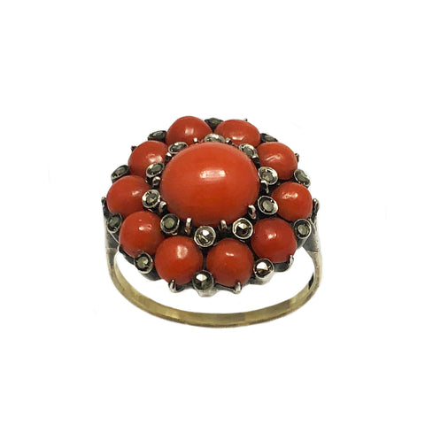 Rare Victorian Oxblood Coral Cluster Ring