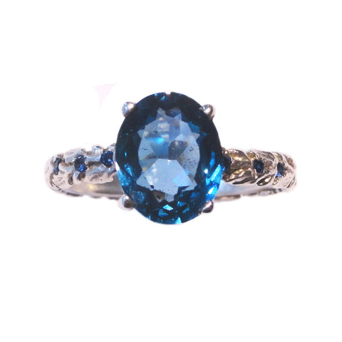 Victorian Vine Band with London Blue Topaz
