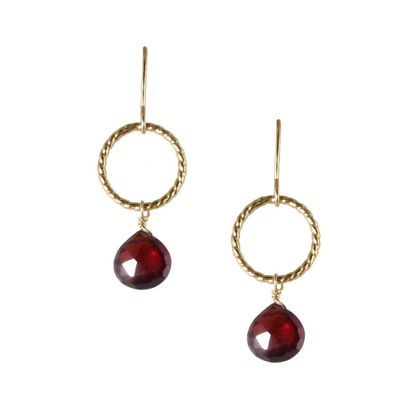 Twist Ring Drop Earrings with Briolettes
